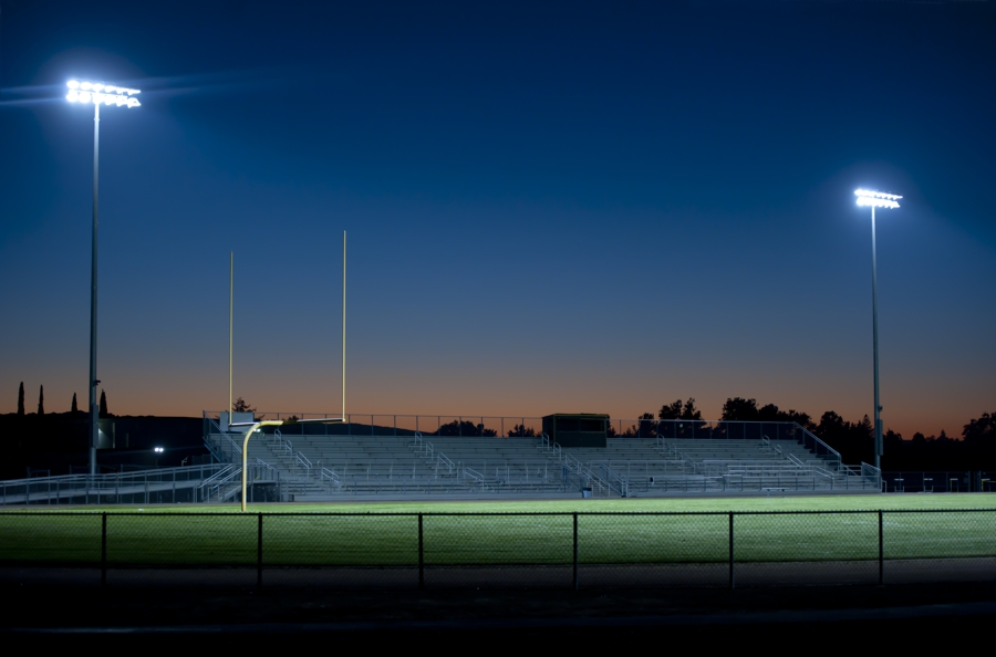 Sporting ground lighting on a field on the Mornington Peninsula